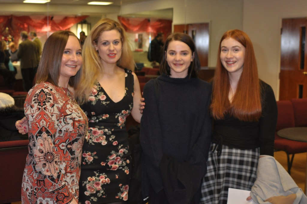 Above: Choir vocal coach, organist and production assistant NATALIE ANNE OWEN and (2nd and 4th from left ) Encore Films Choir members LAIA MARTINEZ RUBIR and LARA COOPER-CHADWICK, with Lara's fiend, Breanna