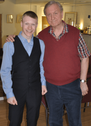 Above:  Actor LEE FARRELL (Tchaikovsky's pupil and  muse Eduard Zak) with director IAN WOODWARD